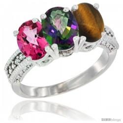 14K White Gold Natural Pink Topaz, Mystic Topaz & Tiger Eye Ring 3-Stone 7x5 mm Oval Diamond Accent