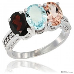 14K White Gold Natural Garnet, Aquamarine & Morganite Ring 3-Stone 7x5 mm Oval Diamond Accent