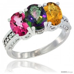 14K White Gold Natural Pink Topaz, Mystic Topaz & Whisky Quartz Ring 3-Stone 7x5 mm Oval Diamond Accent