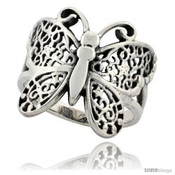 Sterling Silver Butterfly Ring 3/4 in Long -Style Tr819