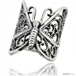 Sterling Silver Large Filigree Butterfly Ring 1 1/4 in Long