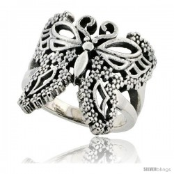 Sterling Silver Filigree Butterfly Ring 3/4 in Long