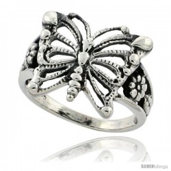 Sterling Silver Butterfly Ring w/ Floral Design 5/8 in Long