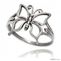 Sterling Silver Butterfly Ring 5/8 in wide