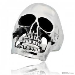 Sterling Silver Skull Ring 1 1/8 in long