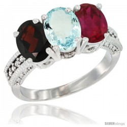14K White Gold Natural Garnet, Aquamarine & Ruby Ring 3-Stone 7x5 mm Oval Diamond Accent