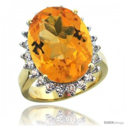 10k Yellow Gold Diamond Halo Citrine Ring 10 ct Large Oval Stone 18x13 mm, 7/8 in wide