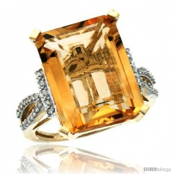 10k Yellow Gold Diamond Citrine Ring 12 ct Emerald Shape 16x12 Stone 3/4 in wide