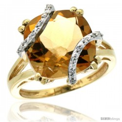 10k Yellow Gold Diamond Citrine Ring 7.5 ct Cushion Cut 12 mm Stone, 1/2 in wide