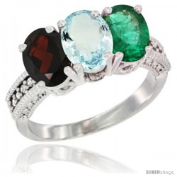 14K White Gold Natural Garnet, Aquamarine & Emerald Ring 3-Stone 7x5 mm Oval Diamond Accent