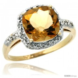 10k Yellow Gold Diamond Citrine Ring 2.08 ct Cushion cut 8 mm Stone 1/2 in wide