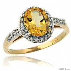 10k Yellow Gold Diamond Citrine Ring Oval Stone 8x6 mm 1.17 ct 3/8 in wide