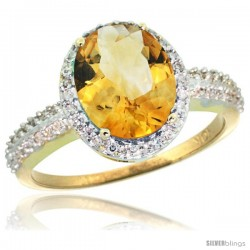 10k Yellow Gold Diamond Citrine Ring Oval Stone 10x8 mm 2.4 ct 1/2 in wide