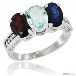 14K White Gold Natural Garnet, Aquamarine & Blue Sapphire Ring 3-Stone 7x5 mm Oval Diamond Accent