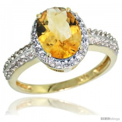 10k Yellow Gold Diamond Citrine Ring Oval Stone 9x7 mm 1.76 ct 1/2 in wide