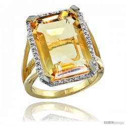 10k Yellow Gold Diamond Citrine Ring 14.96 ct Emerald shape 18x13 Stone 13/16 in wide