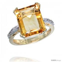 10k Yellow Gold Diamond Citrine Ring 5.83 ct Emerald Shape 12x10 Stone 1/2 in wide