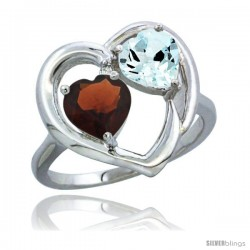 14k White Gold 2-Stone Heart Ring 6mm Natural Garnet & Aquamarine Diamond Accent