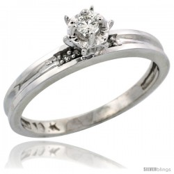 10k White Gold Diamond Engagement Ring, 1/8inch wide -Style Ljw119er