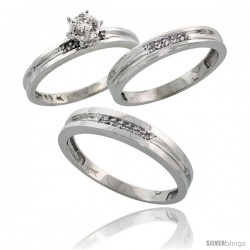 10k White Gold Diamond Trio Wedding Ring Set His 4mm & Hers 3.5mm -Style Ljw119w3