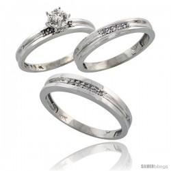 10k White Gold Diamond Trio Wedding Ring Set His 4mm & Hers 3.5mm -Style Ljw119w3