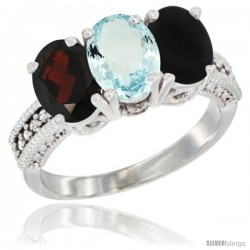 14K White Gold Natural Garnet, Aquamarine & Black Onyx Ring 3-Stone 7x5 mm Oval Diamond Accent