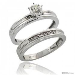 10k White Gold Ladies' 2-Piece Diamond Engagement Wedding Ring Set, 1/8 in wide -Style Ljw120e2