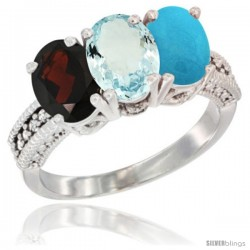 14K White Gold Natural Garnet, Aquamarine & Turquoise Ring 3-Stone 7x5 mm Oval Diamond Accent
