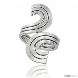 Sterling Silver Wire Wrap Ring Triple C Swirl Handmade, 1 5/16 in Long