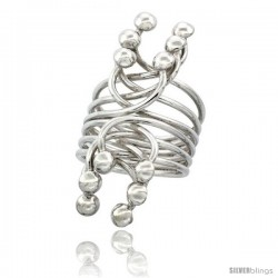 Sterling Silver Multiple Wire Wrap Horse shoe Shape with Half Ball Ends Ring Handmade, 1 9/16 in Long