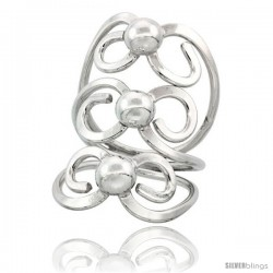 Sterling Silver Wire Wrap Bow Shape Ring Centered with 3 balls, 1 5/16 in Long