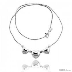 Sterling Silver Necklace / Bracelet with 3 Heart Slides