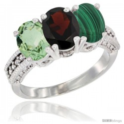 10K White Gold Natural Green Amethyst, Garnet & Malachite Ring 3-Stone Oval 7x5 mm Diamond Accent