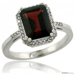 14k White Gold Diamond Garnet Ring 2.53 ct Emerald Shape 9x7 mm, 1/2 in wide