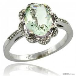 10k White Gold Diamond Halo Green Amethyst Ring 1.65 Carat Oval Shape 9X7 mm, 7/16 in (11mm) wide