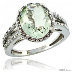 10k White Gold Diamond Halo Green Amethyst Ring 2.85 Carat Oval Shape 11X9 mm, 7/16 in (11mm) wide