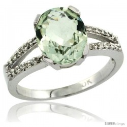10k White Gold and Diamond Halo Green Amethyst Ring 2.4 carat Oval shape 10X8 mm, 3/8 in (10mm) wide