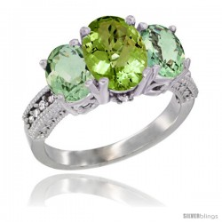 10K White Gold Ladies Natural Peridot Oval 3 Stone Ring with Green Amethyst Sides Diamond Accent