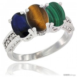14K White Gold Natural Blue Sapphire, Tiger Eye & Malachite Ring 3-Stone 7x5 mm Oval Diamond Accent