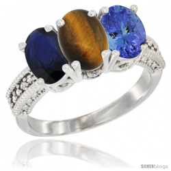 14K White Gold Natural Blue Sapphire, Tiger Eye & Tanzanite Ring 3-Stone 7x5 mm Oval Diamond Accent