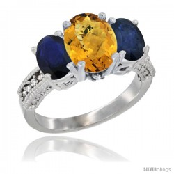 14K White Gold Ladies 3-Stone Oval Natural Whisky Quartz Ring with Blue Sapphire Sides Diamond Accent