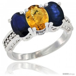 14K White Gold Natural Whisky Quartz & Blue Sapphire Sides Ring 3-Stone 7x5 mm Oval Diamond Accent