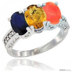 14K White Gold Natural Blue Sapphire, Whisky Quartz & Coral Ring 3-Stone 7x5 mm Oval Diamond Accent