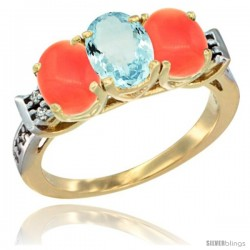 10K Yellow Gold Natural Aquamarine & Coral Sides Ring 3-Stone Oval 7x5 mm Diamond Accent