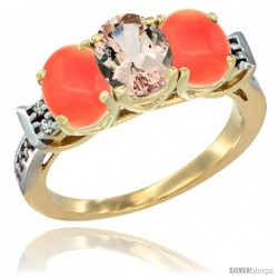 10K Yellow Gold Natural Morganite & Coral Sides Ring 3-Stone Oval 7x5 mm Diamond Accent