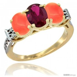 10K Yellow Gold Natural Ruby & Coral Sides Ring 3-Stone Oval 7x5 mm Diamond Accent