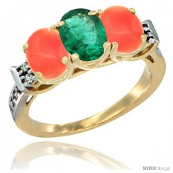 10K Yellow Gold Natural Emerald & Coral Sides Ring 3-Stone Oval 7x5 mm Diamond Accent