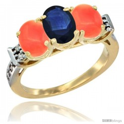 10K Yellow Gold Natural Blue Sapphire & Coral Sides Ring 3-Stone Oval 7x5 mm Diamond Accent