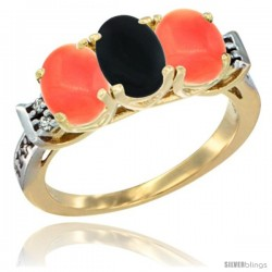 10K Yellow Gold Natural Black Onyx & Coral Sides Ring 3-Stone Oval 7x5 mm Diamond Accent