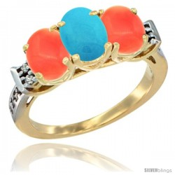10K Yellow Gold Natural Turquoise & Coral Sides Ring 3-Stone Oval 7x5 mm Diamond Accent